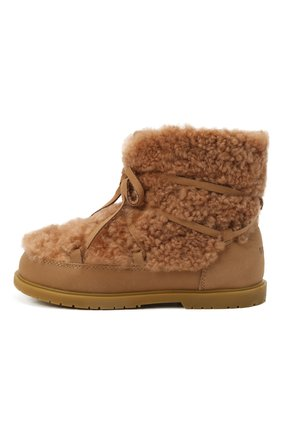 Детские кожаные ботинки с меховой отделкой DONSJE AMSTERDAM светло-коричневого цвета, арт. 2017800-CS002/29-33   Фото 2 (Материал утеплителя: Натуральный мех; Материал внешний: Натуральный мех)