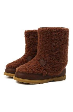Детские кожаные сапоги с меховой отделкой DONSJE AMSTERDAM коричневого цвета, арт. 2017902-CS001/29-33   Фото 1 (Материал внешний: Натуральный мех; Материал утеплителя: Натуральный мех)