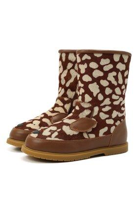 Детские кожаные сапоги DONSJE AMSTERDAM коричневого цвета, арт. 2022101-CB009/29-33   Фото 1 (Материал утеплителя: Натуральный мех)