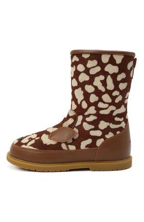 Детские кожаные сапоги DONSJE AMSTERDAM коричневого цвета, арт. 2022101-CB009/29-33   Фото 2 (Материал утеплителя: Натуральный мех)
