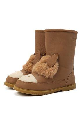 Детские кожаные сапоги DONSJE AMSTERDAM коричневого цвета, арт. 2022104-CL018/29-33   Фото 1 (Материал утеплителя: Натуральный мех)