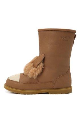 Детские кожаные сапоги DONSJE AMSTERDAM коричневого цвета, арт. 2022104-CL018/29-33   Фото 2 (Материал утеплителя: Натуральный мех)
