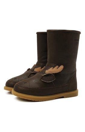 Детские кожаные сапоги DONSJE AMSTERDAM коричневого цвета, арт. 2022106-CL031/29-33   Фото 1 (Материал утеплителя: Натуральный мех)