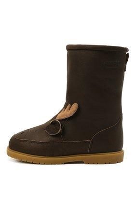 Детские кожаные сапоги DONSJE AMSTERDAM коричневого цвета, арт. 2022106-CL031/29-33   Фото 2 (Материал утеплителя: Натуральный мех)