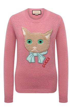 Женский шерстяной пуловер GUCCI розового цвета, арт. 662173/XKBYI | Фото 1 (Материал внешний: Шерсть; Длина (для топов): Стандартные; Рукава: Длинные; Женское Кросс-КТ: Пуловер-одежда; Стили: Романтичный)