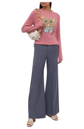 Женский шерстяной пуловер GUCCI розового цвета, арт. 662173/XKBYI | Фото 2 (Материал внешний: Шерсть; Длина (для топов): Стандартные; Рукава: Длинные; Женское Кросс-КТ: Пуловер-одежда; Стили: Романтичный)