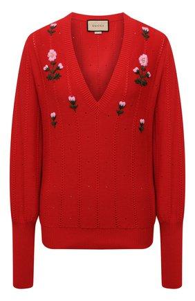 Женский пуловер из хлопка и шелка GUCCI красного цвета, арт. 662164/XKBYG | Фото 1 (Длина (для топов): Стандартные; Рукава: Длинные; Материал внешний: Хлопок; Женское Кросс-КТ: Пуловер-одежда; Стили: Романтичный)