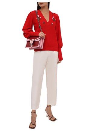 Женский пуловер из хлопка и шелка GUCCI красного цвета, арт. 662164/XKBYG | Фото 2 (Длина (для топов): Стандартные; Рукава: Длинные; Материал внешний: Хлопок; Женское Кросс-КТ: Пуловер-одежда; Стили: Романтичный)