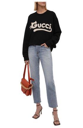Женский хлопковый свитшот GUCCI черного цвета, арт. 617964/XJDDK | Фото 2 (Рукава: Длинные; Материал внешний: Хлопок; Длина (для топов): Стандартные; Женское Кросс-КТ: Свитшот-одежда; Стили: Спорт-шик)