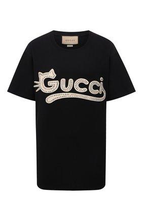 Женская хлопковая футболка GUCCI черного цвета, арт. 615044/XJDGW | Фото 1 (Рукава: Короткие; Длина (для топов): Удлиненные; Материал внешний: Хлопок; Женское Кросс-КТ: Футболка-одежда; Принт: С принтом; Стили: Гламурный)
