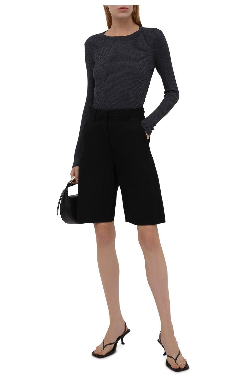 Женская хлопковый лонгслив JAMES PERSE темно-синего цвета, арт. WRTJ3662   Фото 2 (Рукава: Длинные; Принт: Без принта; Длина (брюки, джинсы): Стандартные; Материал внешний: Синтетический материал, Хлопок; Длина (для топов): Стандартные; Женское Кросс-КТ: Лонгслив-одежда; Стили: Кэжуэл)