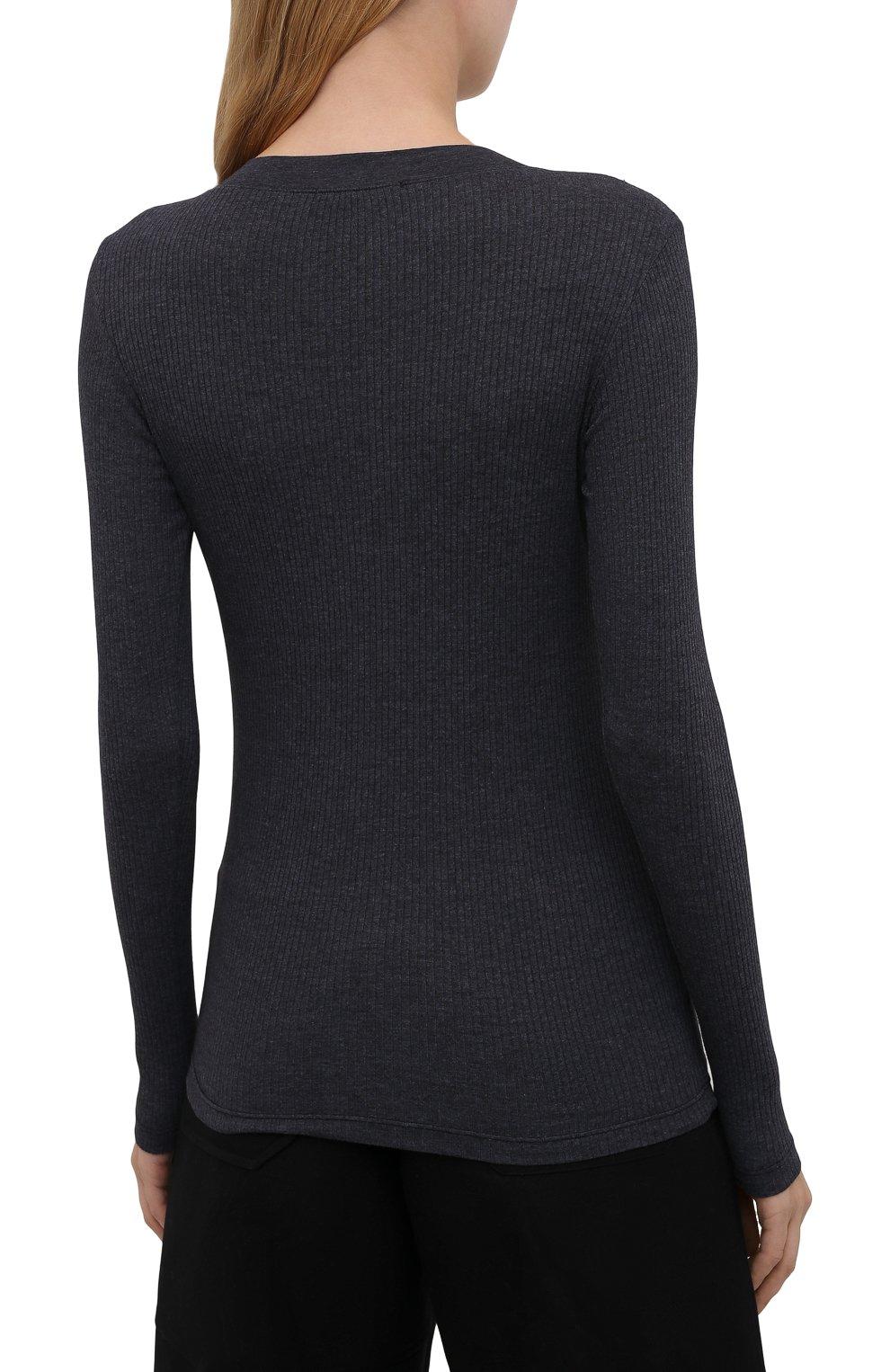 Женская хлопковый лонгслив JAMES PERSE темно-синего цвета, арт. WRTJ3662   Фото 4 (Рукава: Длинные; Принт: Без принта; Длина (брюки, джинсы): Стандартные; Материал внешний: Синтетический материал, Хлопок; Длина (для топов): Стандартные; Женское Кросс-КТ: Лонгслив-одежда; Стили: Кэжуэл)