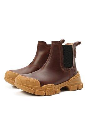 Детские кожаные ботинки GUCCI коричневого цвета, арт. 629739/DTN50 | Фото 1 (Материал внутренний: Натуральная кожа)