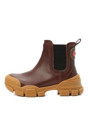Детские кожаные ботинки GUCCI коричневого цвета, арт. 629739/DTN50 | Фото 2 (Материал внутренний: Натуральная кожа)
