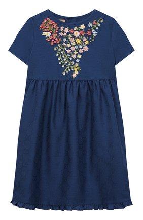 Женский хлопковое платье GUCCI синего цвета, арт. 657943/XWAQA   Фото 1