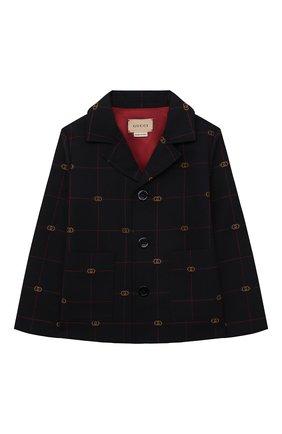 Детский шерстяной пиджак GUCCI темно-синего цвета, арт. 660171/XWA0Q | Фото 1 (Материал подклада: Купро; Материал внешний: Шерсть; Рукава: Длинные)