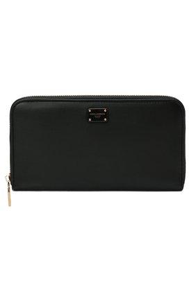 Женские кожаный кошелек DOLCE & GABBANA черного цвета, арт. BI0473/A0049 | Фото 1