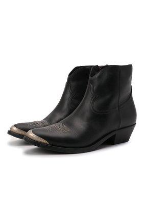 Женские кожаные ботинки young GOLDEN GOOSE DELUXE BRAND черного цвета, арт. GWF00131.F000484 | Фото 1 (Подошва: Плоская; Материал внутренний: Натуральная кожа; Каблук высота: Низкий; Женское Кросс-КТ: Казаки-ботинки)