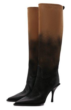 Женские кожаные сапоги PREMIATA коричневого цвета, арт. M6174/ARSENI0   Фото 1 (Материал внутренний: Натуральная кожа; Высота голенища: Средние; Подошва: Плоская; Каблук высота: Высокий; Каблук тип: Шпилька)