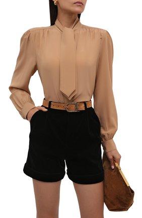 Женский замшевый ремень SAINT LAURENT светло-коричневого цвета, арт. 533721/C0X0W | Фото 2