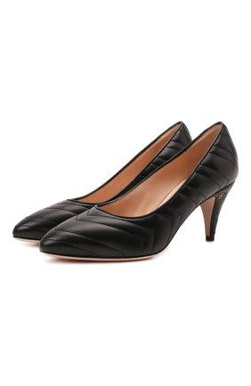 Женские кожаные туфли GUCCI черного цвета, арт. 658673/BK000 | Фото 1 (Материал внутренний: Натуральная кожа; Подошва: Плоская; Каблук высота: Высокий; Каблук тип: Устойчивый)