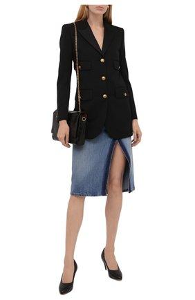Женские кожаные туфли GUCCI черного цвета, арт. 658673/BK000 | Фото 2 (Материал внутренний: Натуральная кожа; Подошва: Плоская; Каблук высота: Высокий; Каблук тип: Устойчивый)