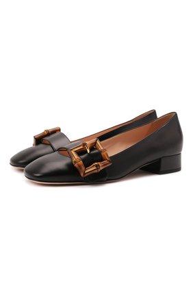 Женские кожаные туфли GUCCI черного цвета, арт. 658856/C9D00 | Фото 1 (Каблук высота: Низкий; Подошва: Плоская; Материал внутренний: Натуральная кожа; Каблук тип: Устойчивый)