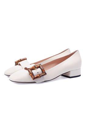 Женские кожаные туфли GUCCI белого цвета, арт. 658856/C9D00 | Фото 1 (Подошва: Плоская; Материал внутренний: Натуральная кожа; Каблук высота: Низкий; Каблук тип: Устойчивый)