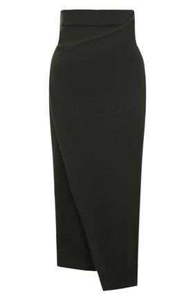 Женская шерстяная юбка KENZO хаки цвета, арт. FB62JU6023AD | Фото 1 (Длина Ж (юбки, платья, шорты): Миди; Материал внешний: Шерсть; Женское Кросс-КТ: Юбка-одежда; Стили: Кэжуэл)