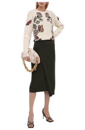 Женская шерстяная юбка KENZO хаки цвета, арт. FB62JU6023AD | Фото 2 (Длина Ж (юбки, платья, шорты): Миди; Материал внешний: Шерсть; Женское Кросс-КТ: Юбка-одежда; Стили: Кэжуэл)