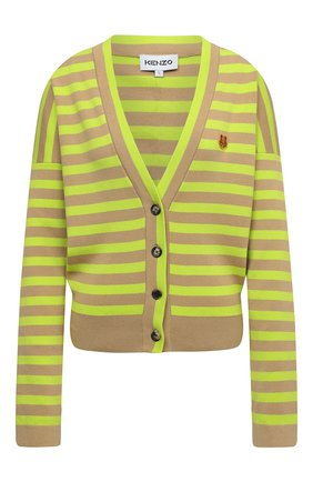 Женский хлопковый кардиган KENZO зеленого цвета, арт. FB62CA6223CB   Фото 1 (Длина (для топов): Стандартные; Рукава: Длинные; Материал внешний: Хлопок; Женское Кросс-КТ: кардиган-трикотаж; Стили: Кэжуэл)