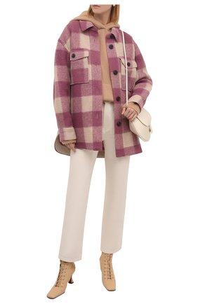 Женская куртка ISABEL MARANT ETOILE розового цвета, арт. MA0998-21A009E/HARVELI   Фото 2 (Материал подклада: Хлопок; Материал внешний: Синтетический материал; Рукава: Длинные; Длина (верхняя одежда): До середины бедра; Кросс-КТ: Куртка; Стили: Гранж)