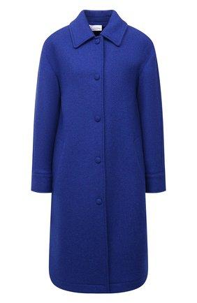 Женское шерстяное пальто REDVALENTINO синего цвета, арт. WR0CAD88/64S   Фото 1 (Длина (верхняя одежда): До колена; Рукава: Длинные; Материал подклада: Синтетический материал; Материал внешний: Шерсть; 1-2-бортные: Однобортные; Стили: Кэжуэл)