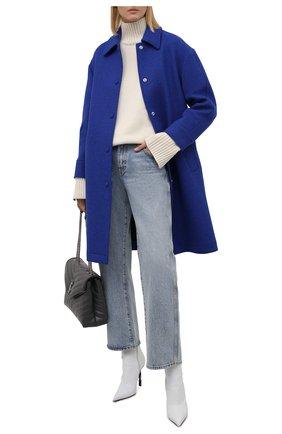Женское шерстяное пальто REDVALENTINO синего цвета, арт. WR0CAD88/64S   Фото 2 (Длина (верхняя одежда): До колена; Рукава: Длинные; Материал подклада: Синтетический материал; Материал внешний: Шерсть; 1-2-бортные: Однобортные; Стили: Кэжуэл)