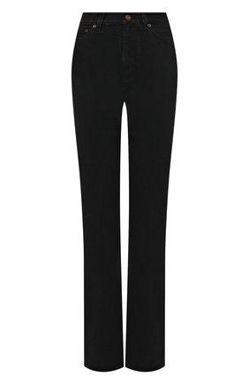 Женские джинсы SAINT LAURENT черного цвета, арт. 644332/YL899   Фото 1 (Длина (брюки, джинсы): Удлиненные; Материал внешний: Хлопок; Кросс-КТ: Деним; Силуэт Ж (брюки и джинсы): Расклешенные; Стили: Кэжуэл)