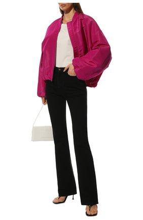 Женские джинсы SAINT LAURENT черного цвета, арт. 644332/YL899   Фото 2 (Длина (брюки, джинсы): Удлиненные; Материал внешний: Хлопок; Кросс-КТ: Деним; Силуэт Ж (брюки и джинсы): Расклешенные; Стили: Кэжуэл)