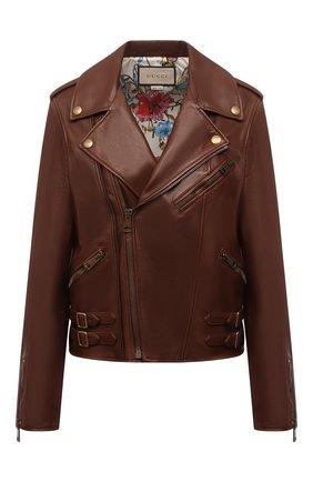 Женская кожаная куртка GUCCI коричневого цвета, арт. 659239/XN336 | Фото 1 (Рукава: Длинные; Длина (верхняя одежда): Короткие; Материал подклада: Шелк; Женское Кросс-КТ: Замша и кожа; Стили: Гранж)