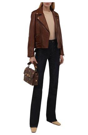 Женская кожаная куртка GUCCI коричневого цвета, арт. 659239/XN336 | Фото 2 (Рукава: Длинные; Длина (верхняя одежда): Короткие; Материал подклада: Шелк; Женское Кросс-КТ: Замша и кожа; Стили: Гранж)