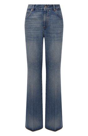 Женские джинсы GUCCI синего цвета, арт. 656983/XDB0J | Фото 1 (Материал внешний: Хлопок; Длина (брюки, джинсы): Удлиненные; Кросс-КТ: Деним; Силуэт Ж (брюки и джинсы): Расклешенные; Стили: Кэжуэл)