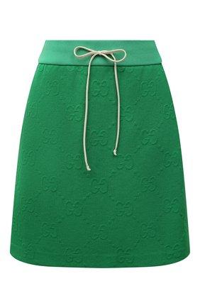 Женская юбка GUCCI зеленого цвета, арт. 655183/XJDEM | Фото 1 (Длина Ж (юбки, платья, шорты): Мини; Материал внешний: Синтетический материал; Женское Кросс-КТ: Юбка-одежда; Стили: Спорт-шик)