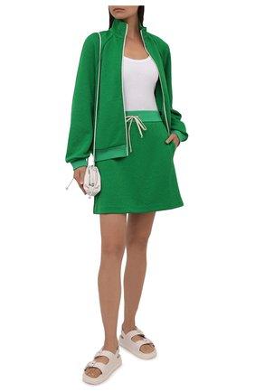 Женская юбка GUCCI зеленого цвета, арт. 655183/XJDEM | Фото 2 (Длина Ж (юбки, платья, шорты): Мини; Материал внешний: Синтетический материал; Женское Кросс-КТ: Юбка-одежда; Стили: Спорт-шик)