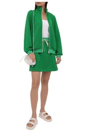 Женский толстовка GUCCI зеленого цвета, арт. 655181/XJDEM | Фото 2 (Длина (для топов): Стандартные; Рукава: Длинные; Материал внешний: Синтетический материал; Стили: Спорт-шик; Женское Кросс-КТ: Кардиган-одежда, Толстовка-одежда)