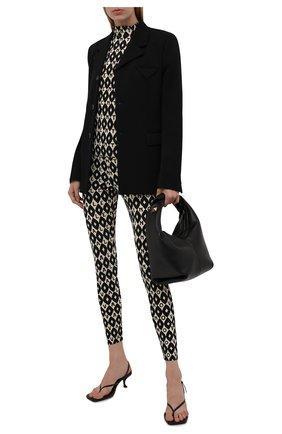 Женские леггинсы VALENTINO черно-белого цвета, арт. WB3MD03E6KK   Фото 2 (Материал внешний: Синтетический материал; Длина (брюки, джинсы): Стандартные; Женское Кросс-КТ: Леггинсы-одежда; Стили: Гламурный)