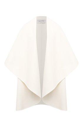 Женская накидка из шерсти и кашемира VALENTINO белого цвета, арт. WB3CF0A515E | Фото 1 (Длина (верхняя одежда): До середины бедра; Материал внешний: Шерсть; Материал подклада: Купро; Стили: Кэжуэл)