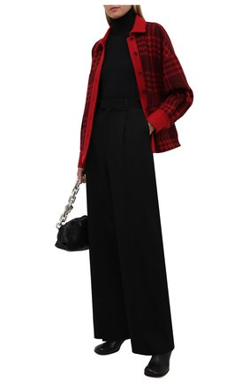 Женский кашемировый жакет KITON красного цвета, арт. D52514K0124A   Фото 2 (Материал внешний: Шерсть, Кашемир; Материал подклада: Шелк; Рукава: Длинные; Длина (для топов): Стандартные; Женское Кросс-КТ: Жакет-одежда; 1-2-бортные: Однобортные; Стили: Гранж; Случай: Повседневный)