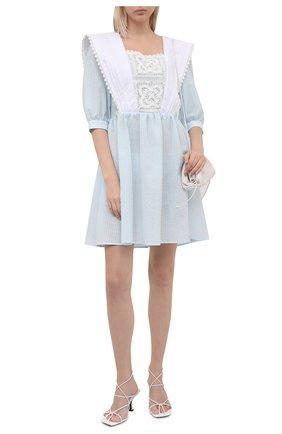 Женское хлопковое платье MASTERPEACE голубого цвета, арт. MP-R21-33   Фото 2 (Материал внешний: Хлопок; Женское Кросс-КТ: Платье-одежда; Рукава: 3/4; Длина Ж (юбки, платья, шорты): Мини; Стили: Бохо; Случай: Повседневный)