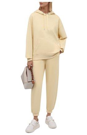 Женский худи BOSS желтого цвета, арт. 50457838 | Фото 2 (Материал внешний: Хлопок, Синтетический материал; Рукава: Длинные; Длина (для топов): Стандартные; Женское Кросс-КТ: Худи-одежда, Худи-спорт; Стили: Спорт-шик)