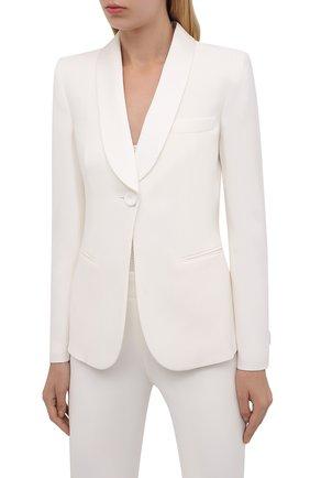 Женский шерстяной костюм GIORGIO ARMANI белого цвета, арт. 8CHAT001/T00EV | Фото 2 (Материал внешний: Шелк; Длина (для топов): Стандартные; Материал подклада: Шелк; Рукава: Длинные; Женское Кросс-КТ: Жакет-одежда; 1-2-бортные: Однобортные; Случай: Повседневный; Стили: Классический)