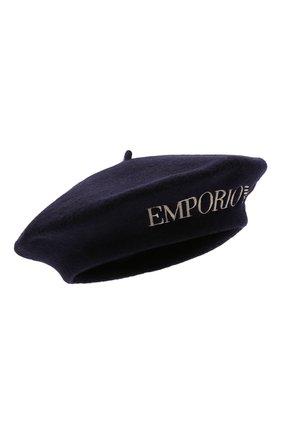 Женский шерстяной берет EMPORIO ARMANI темно-синего цвета, арт. 637525/1A502   Фото 1
