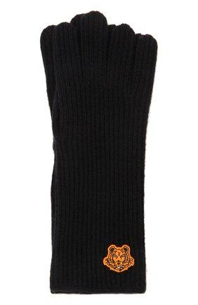 Женские шерстяные перчатки KENZO темно-синего цвета, арт. FB68GW131KFB   Фото 1